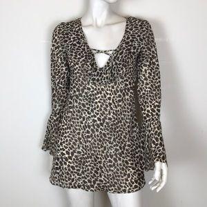 Victoria's Secret bell sleeve leopard print slip